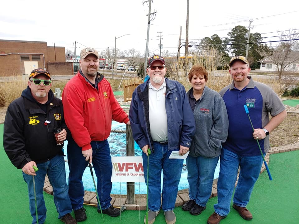District 2 Officers at Hole 13, sponsored by Dept of Va 2, at the Armed Forces Putt Putt Competition on March 9, 2019